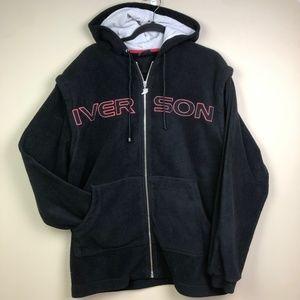 VTG Reebok Allen Iverson Zip Up Hoodie XL Black Ai